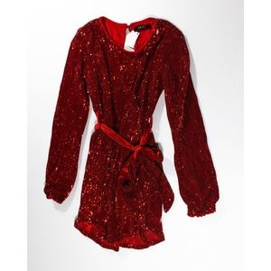 NEW Akira Red Allover Sequin Belted Mini Dress M
